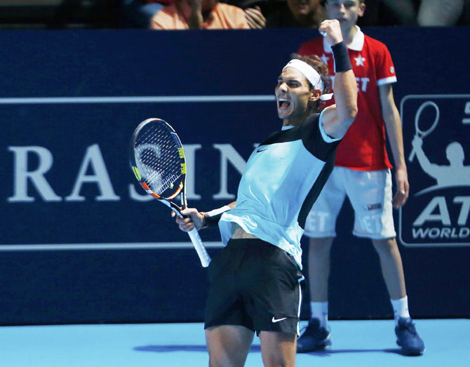 Rafael Nadal of Spain reacts after winning his match against Czech Republic's Lukas Rosol at the Swiss Indoors ATP men's tennis tournament in Basel on Monday