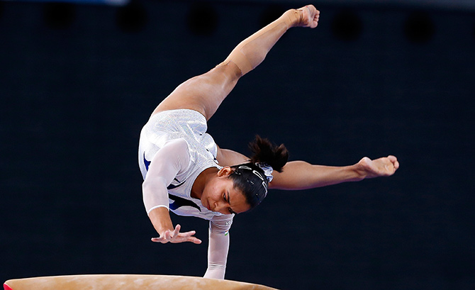Dipa at the 2014 Commonwealth Games in Glasgow. Photograph: Andrew Winning/Reuters