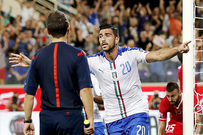 Italy's Graziano Pelle (centre) celebrates after scoring against Malta at the Franchi stadium in Florence, Italy