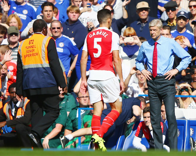 Arsenal's Gabriel walks off the pitch