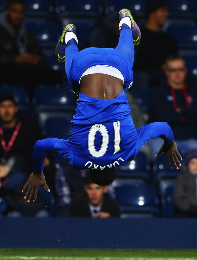 Everton's Romelu Lukaku celebrates as he scores their third goal during the Barclays Premier League match against West Bromwich Albion at The Hawthorns in West Bromwich on Monday