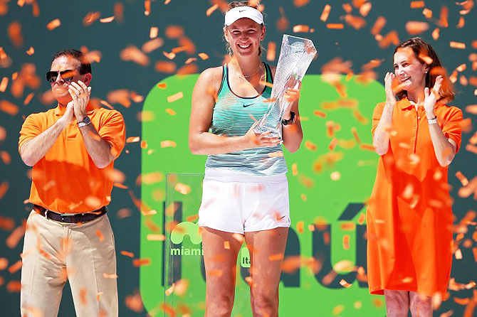Rediff Sports - Cricket, Indian hockey, Tennis, Football, Chess, Golf - Azarenka demolishes Kuznetsova for third Miami Open title