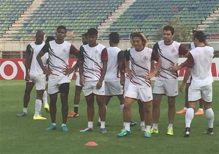 Mohun Bagan players at a training session