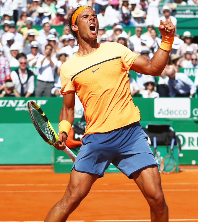 Rediff Sports - Cricket, Indian hockey, Tennis, Football, Chess, Golf - Monte Carlo: Resurgent Nadal downs Murray to reach 100th career final