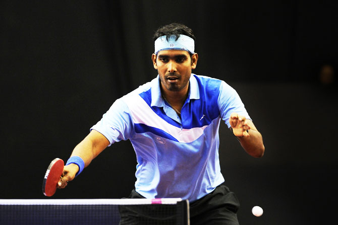 Rediff Sports - Cricket, Indian hockey, Tennis, Football, Chess, Golf - Table tennis: Sharath, Mouma fight back to book Rio Olympic berths