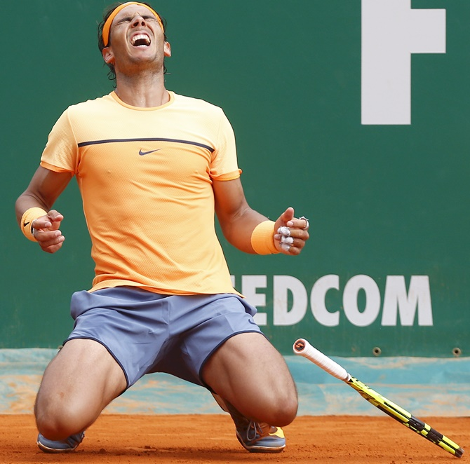 Rediff Sports - Cricket, Indian hockey, Tennis, Football, Chess, Golf - Finally! Nadal sees off Monfils to end four-year Monaco wait