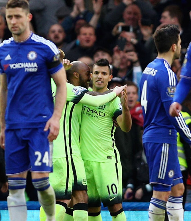 Rediff Sports - Cricket, Indian hockey, Tennis, Football, Chess, Golf - EPL PHOTOS: Aguero hat-trick keeps City on the rise; sinks Chelsea