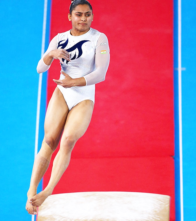 Dipa during her routine in the Vault at a competition. Photograph: Robert Cianflone/Getty Images