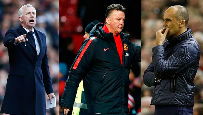 Crystal Palace coach Alan Pardew (left), Manchester United coach Louis van Gaal (centre) and Everton manager Roberto Martinez