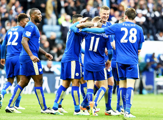 Marc Albrighton of Leicester City celebrates the forth goal during their English Premier League match against Swansea City at the King Power Stadium in Leicester on Sunday
