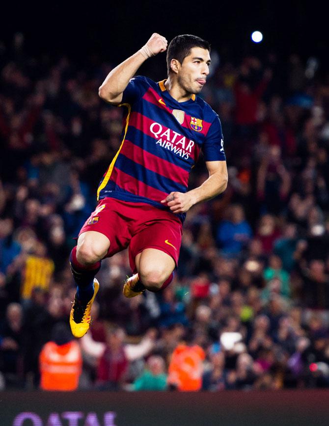 Rediff Sports - Cricket, Indian hockey, Tennis, Football, Chess, Golf - La Liga: Suarez makes history as Barca thrash Gijon