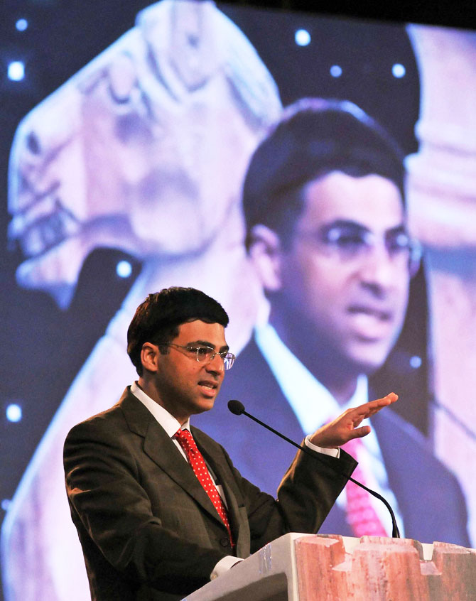 Former World Chess Champion Grand Master Viswanathan Anand speaks at a felicitation function in Kolkata on Sunday