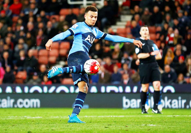 Rediff Sports - Cricket, Indian hockey, Tennis, Football, Chess, Golf - Tottenham's Alli suspended for three European games