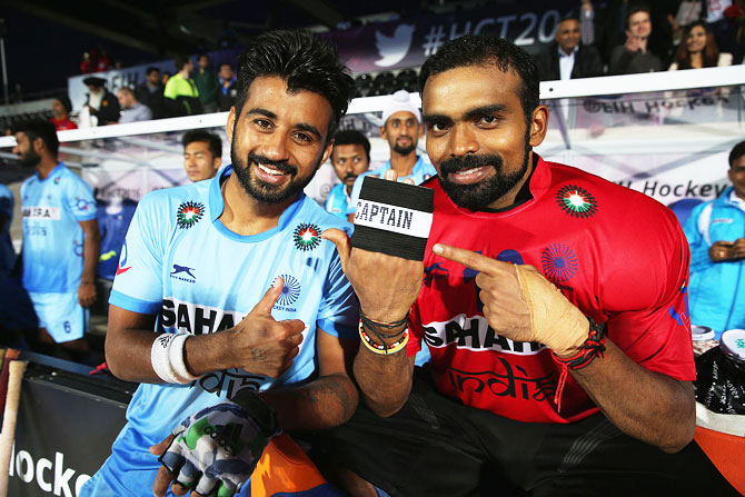 India's Manpreet Singh and captain P Sreejesh