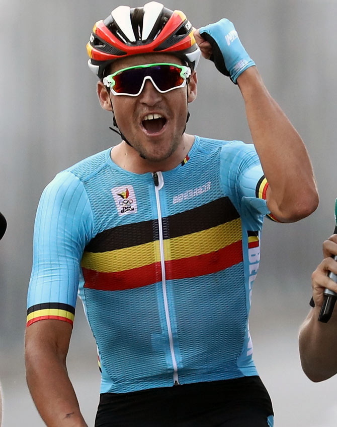 Greg van Avermaet. IMAGE  Greg van Avermaet of Belgium celebrates winning  the gold medal in themen s Road Race ... 63774c313