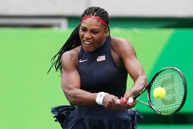 Serena Williams in action during her singles first round match at the Rio Olympics at Rio de Janeiro on Sunday