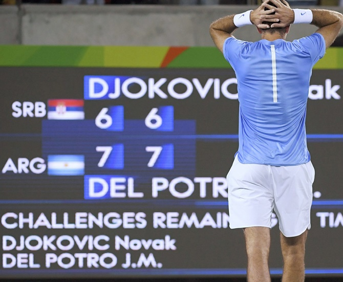 Rediff Sports - Cricket, Indian hockey, Tennis, Football, Chess, Golf - Rio shock! Del Potro sends Djokovic packing