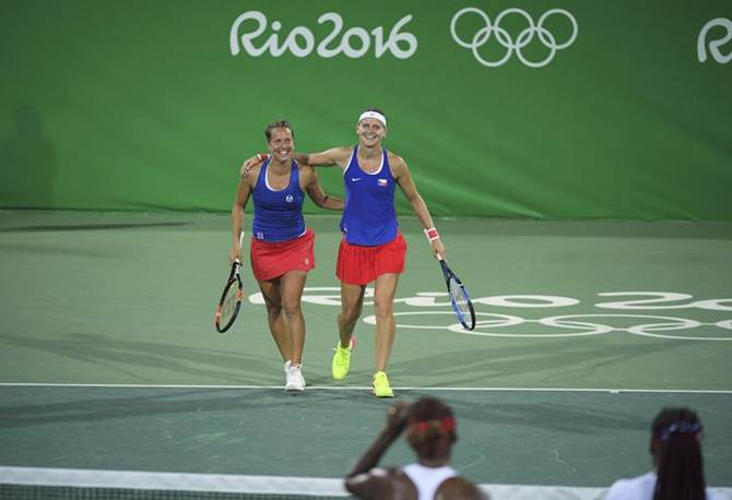 Rediff Sports - Cricket, Indian hockey, Tennis, Football, Chess, Golf - Safarova-Strycova stun Williams sisters in first round
