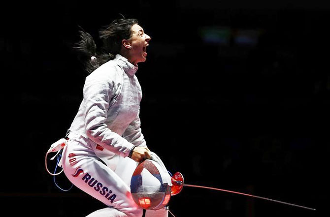 women's sabre fencing individual gold medal bout at Carioca Arena 3 on Monday