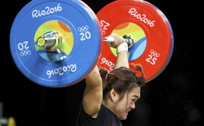 Thailand's Sukanya Srisurat competes in the Women's 58kg weightlifting final on Monday