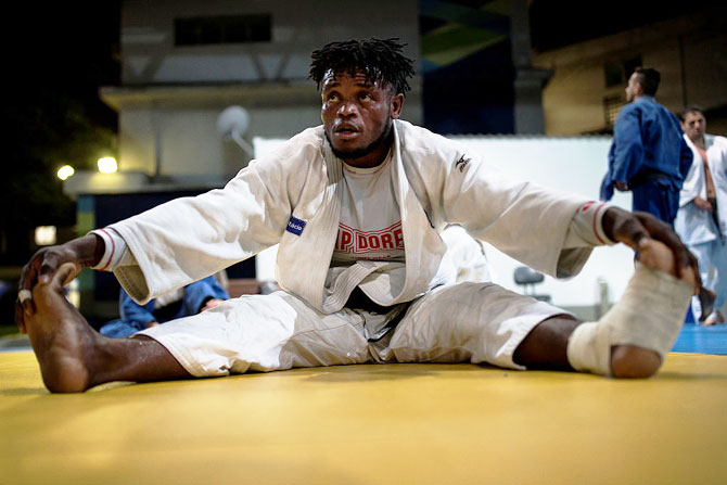 Refugee and judo athlete Popole Misenga to Democratic Republic of Congo looks on during a training session