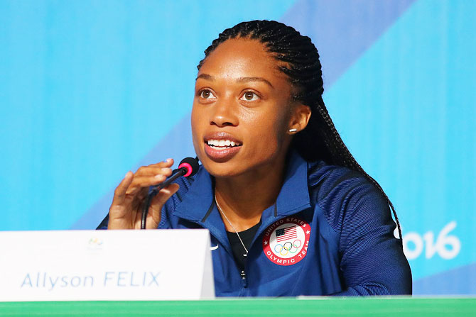 Track and field athlete Allyson Felix of the United States attends a press conference at the Main Press Centre in Barra Olympic Park in Rio de Janeiro on Wednesday