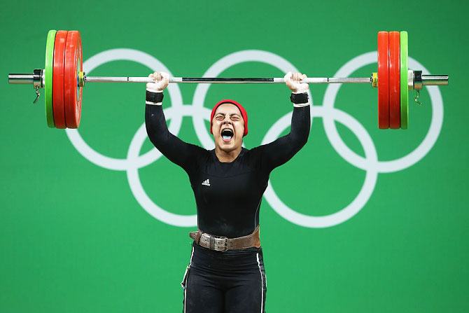 Sara Ahmed of Egypt lifts during the Women's 69kg Group A weightlifting contest on Day 5 of the Rio 2016 Olympic Games at Riocentro, Pavilion 2 in Rio de Janeiro on Wednesday