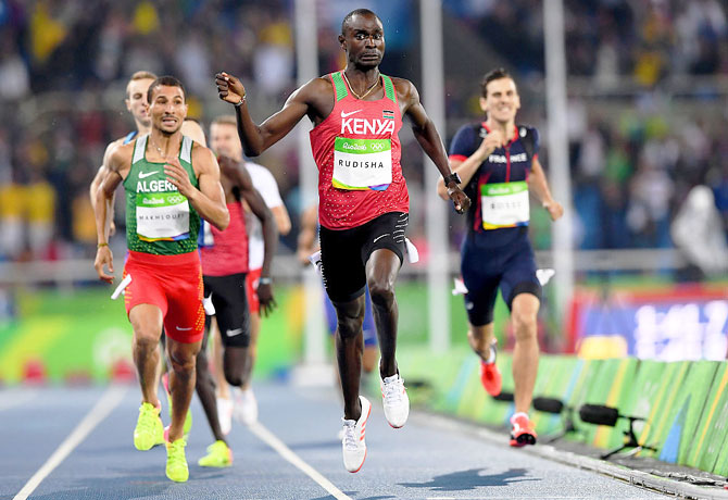 Kenya's David Lekuta Rudisha reacts as he wins the Men's 800m Final at the Rio 2016 Olympic Games at the Olympic Stadium in Rio de Janeiro on Monday