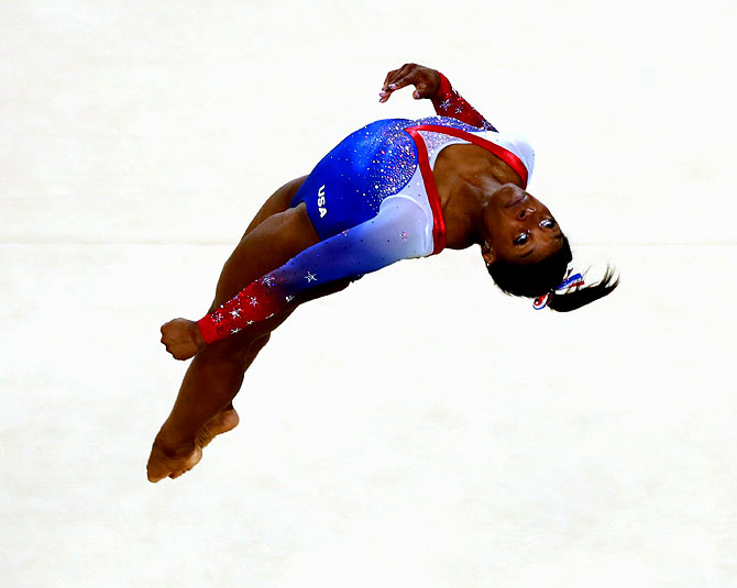 Simone Biles competes in the women's Floor final of the Rio 2016 Olympic Games on August 17