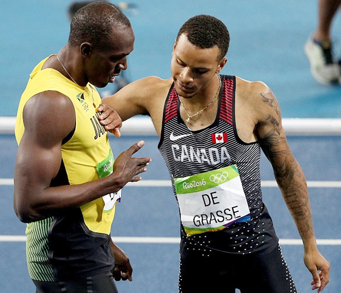 Lewis pits Canadian Andre de Grasse (right) as one of Bolt's successors. Andre de Grasse was silver medalist in 200m at of the Rio 2016 Olympic Games