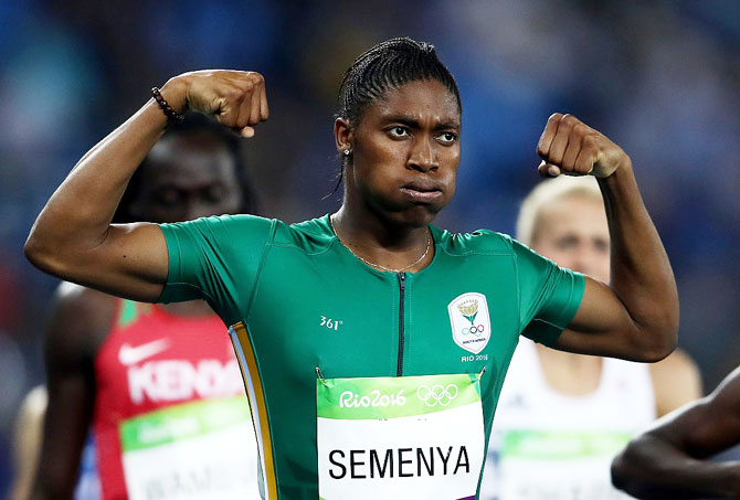 Caster Semenya of South Africa reacts after winning gold in the Women's 800  meter final at