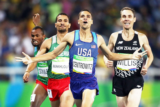 Matthew Centrowitz of the United States reacts after winning gold in the Men's 1500 meter Final at the Rio Olympics