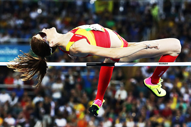 Ruth Beitia of Spain competes during the Women's High Jump final on Saturday