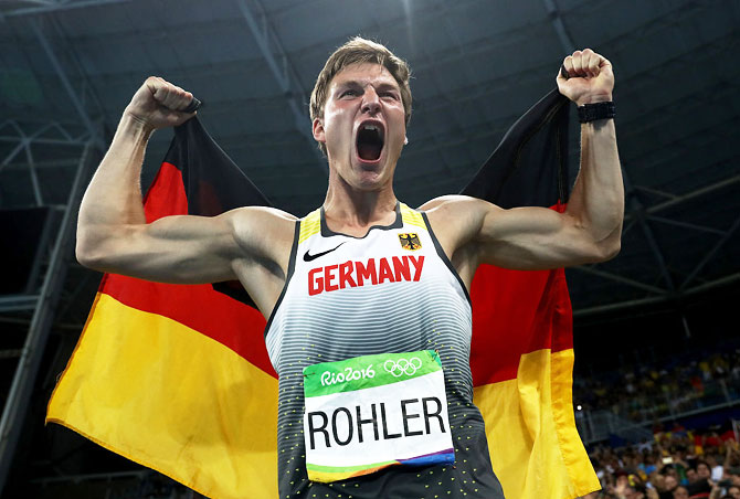 Thomas Rohler of Germany reacts after winning gold in the Men's Javelin Throw on Saturday