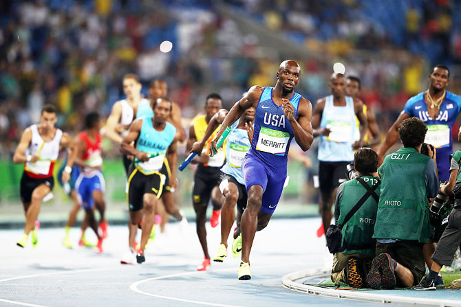 Lashawn Merritt of the United States competes during the Men's 4 x 400 meter Relay on Day 15 of the Rio 2016 Olympic Games at the Olympic Stadium on Saturday