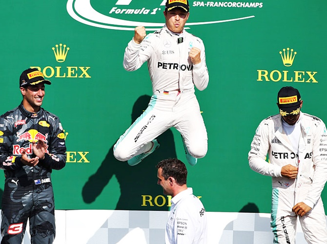 Belgian GP: Rosberg eases to victory, Hamilton third