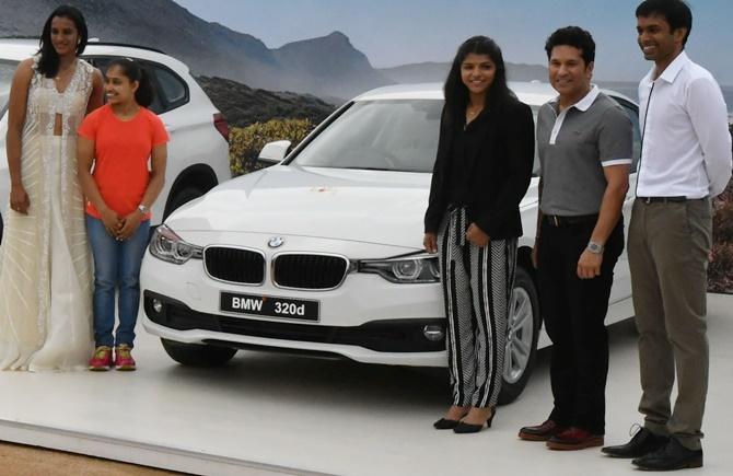 Rediff Sports - Cricket, Indian hockey, Tennis, Football, Chess, Golf - 'Did Sachin T pay for the BMWs he 'gave away' to Rio athletes?'
