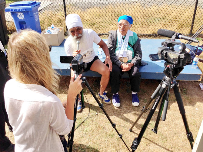 Rediff Sports - Cricket, Indian hockey, Tennis, Football, Chess, Golf - PHOTOS: Meet 100-year-old Indian who won gold at Masters Games track meet