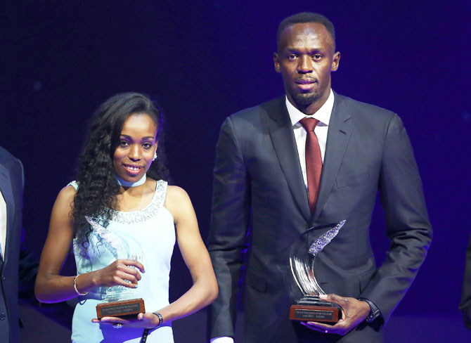 Rediff Sports - Cricket, Indian hockey, Tennis, Football, Chess, Golf - Rio Olympic champions Bolt and Ayana win IAAF awards