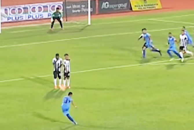 A video grab of Malaysian midfielder Mohamad Faiz Subri's magical free kick