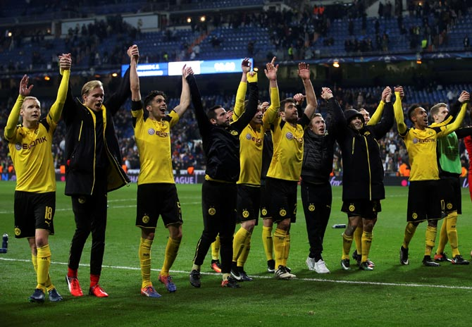 Rediff Sports - Cricket, Indian hockey, Tennis, Football, Chess, Golf - PHOTOS: Dortmund beat Real to top spot, Porto crush Leicester