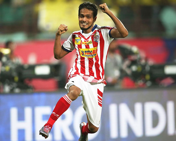 Jewel Raja celebrates on scoring the winning penalty to help Atletico de Kolkata win their second ISL title on Sunday