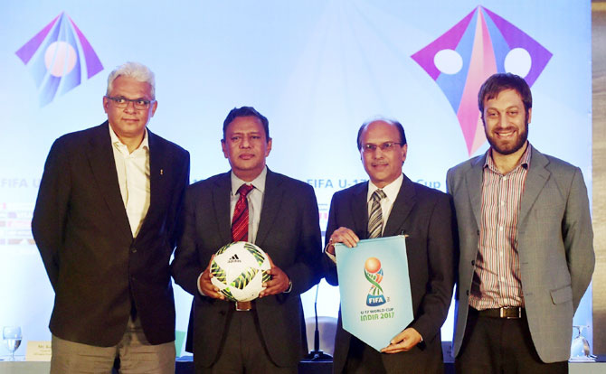 FIFA U-17 World Cup tournament director Javier Ceppi (right) along with Project Director, LOC, FIFA U-17 World Cup India 2017 Joy Bhattacharya, General Secretary, All India Football Fedration Kushal Das, General Manager (Marketing, Corp, Comm. and WMS) Bank of Baroda Rakesh Bhatia at a press conference in Mumbai on Monday