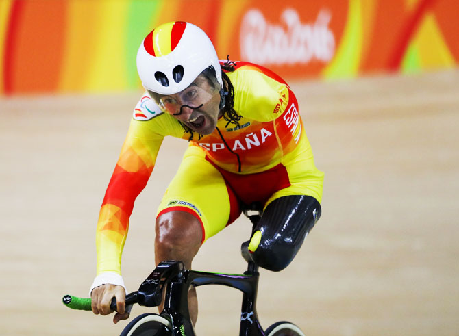 Spain's Juan Jose Mendez Fernandez competes in the Men's 3km Pursuit C1 Individual Pursuit Qualifying on Day 2 of the Rio 2016 Paralympics at Rio Olympic Velodrome in Rio de Janeiro, on September 9