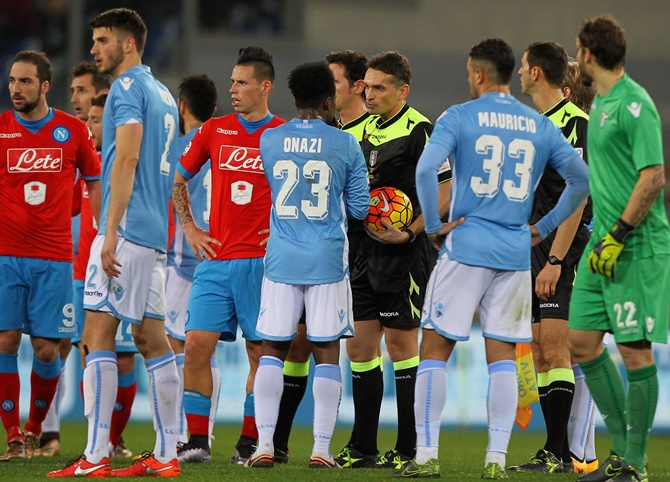 Rediff Sports - Cricket, Indian hockey, Tennis, Football, Chess, Golf - Racist chants overshadow Napoli's win