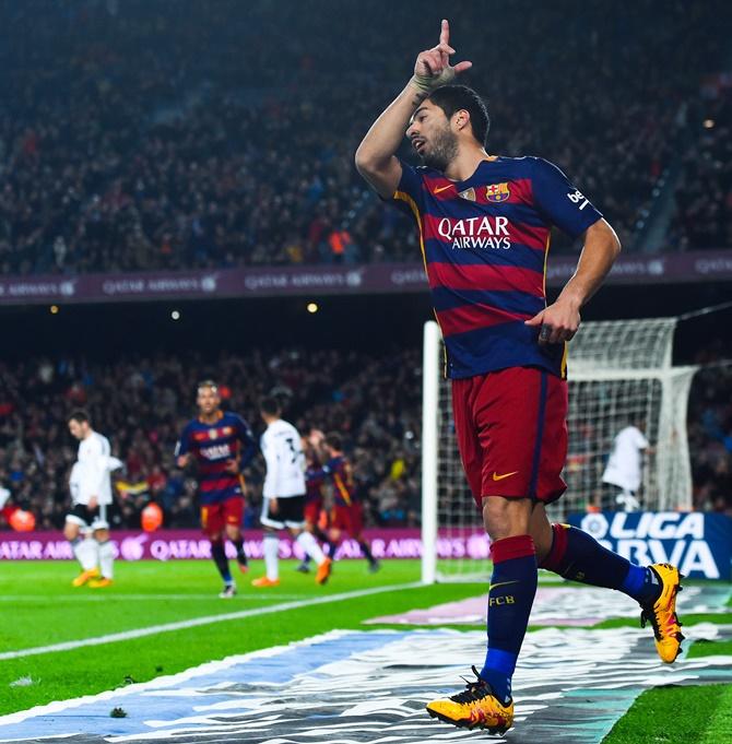 Rediff Sports - Cricket, Indian hockey, Tennis, Football, Chess, Golf - King's Cup: Suarez scores four as Barca crush Valencia 7-0