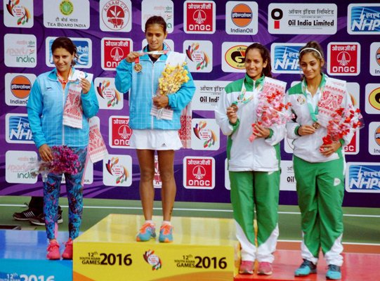 Gold medal winner Ankita Raina, silver medalist Prerna Bhambri from India after the women's singles tennis event