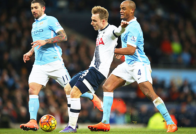 Tottenham Hotspur's Christian Eriksen scores his team's second goal against Manchester City