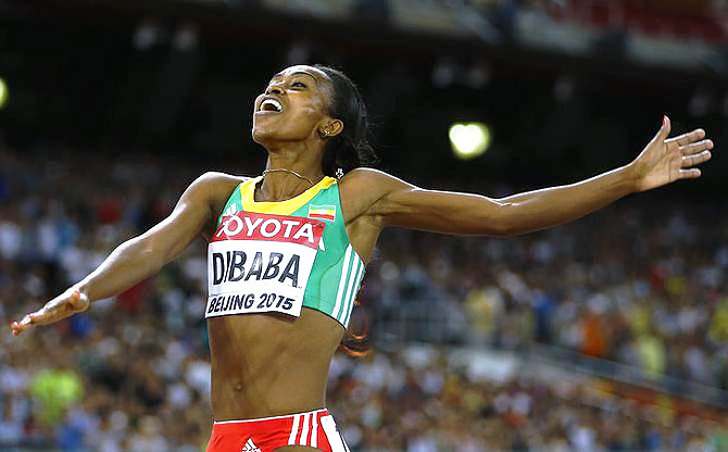 Genzebe Dibaba of Ethiopia celebrates