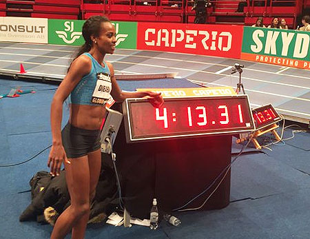 Genzebe Dibaba shows of her new record timing